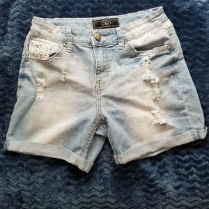 Cato Destressed Denim Jean Shorts